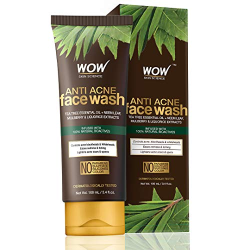 WOW Skin Science Anti Acne Face Wash – Oil Free – No Parabens, Sulphate, Silicones & Color (100mL)