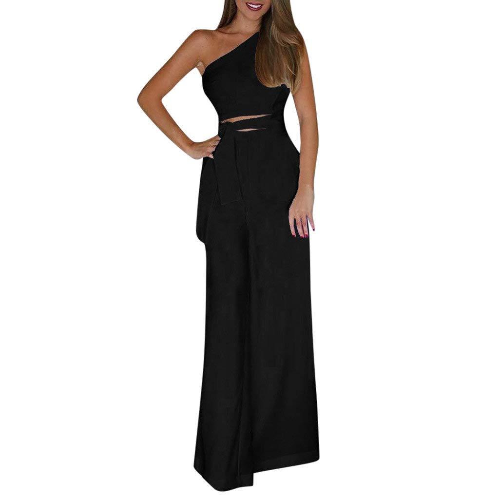 Fanteecy Women's Elegant Jumpsuit Sexy One Shoulder Sleeveless High Wiast Solid Wide Leg Long Pants Romper with Belt (Black, S)
