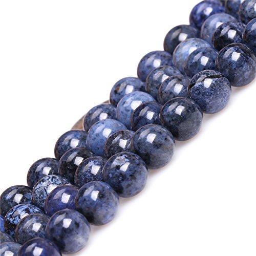 JOE FOREMAN 10mm Dumortierite Semi Precious Gemstone A Grade Dark Blue Round Loose Beads for Jewelry Making DIY Handmade Craft Supplies 15