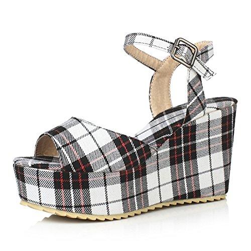 ZHZNVX Primavera l'estate e tacco di muffin spessi scarpe con sandali nuova stoffa fibbia alto fondo White dolce pendenza di col con stampata rrqfdSw
