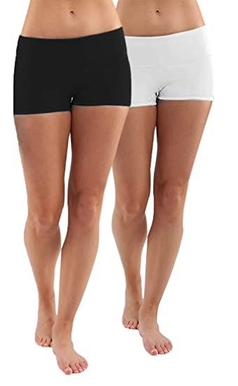 Pack 2X Femme Short de Sport Noir+Blanc Yoga Fitness Capri Boy Shorts Capri  Sports 6849d2154d1
