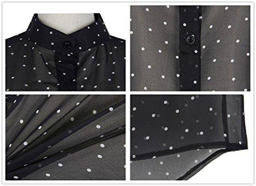 QIYUN.Z El Botón De Polca Collar Del Soporte Manga Larga De Las Mujeres Imprimió Las Camisas Negras Del Botón De La Gasa Color De La Foto