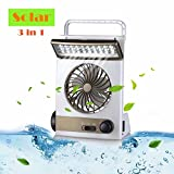 Portable Desktop Cooling Fan Rechargeable 3 in 1 Multifunctional Mini Fan Eye-Care LED Table Lamp Emergency Flashlight Solar Panel for Home Office Camping Hiking Traveling Fishing Boating Outdoors