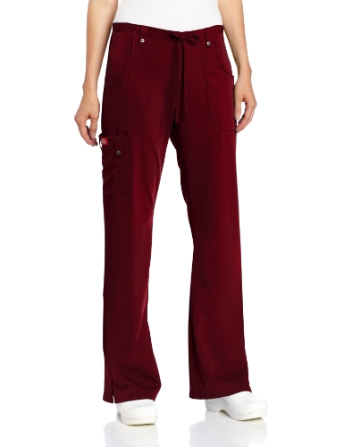 Dickies Women's Xtreme Stretch Fit Drawstring Flare Leg Pant, Wine, X-Small