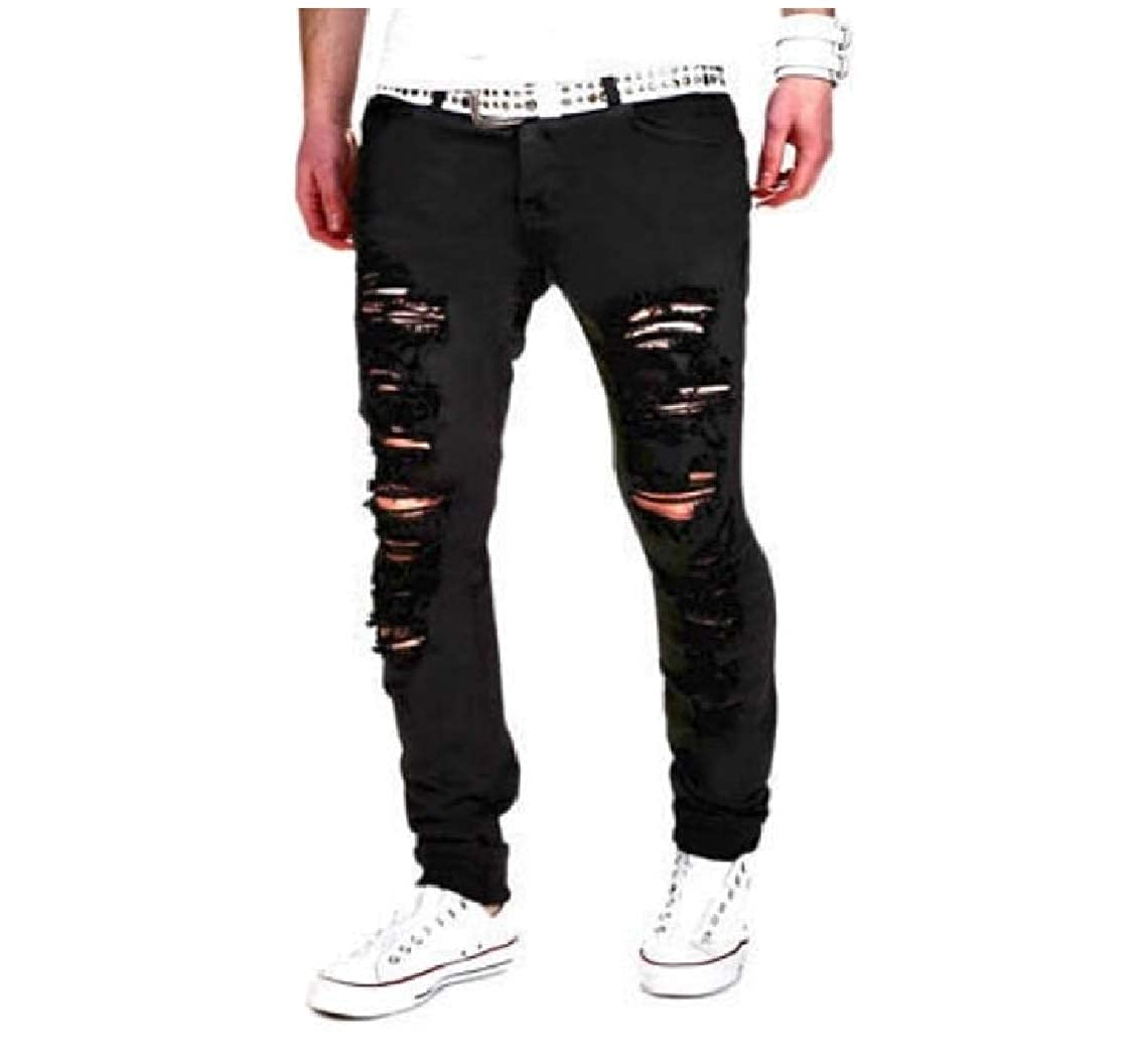 DressU Mens Spring Summer Stretch Ripped-Holes Plus Size Work Pant