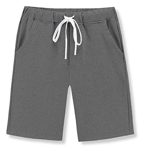 Janmid Men's Casual Classic Fit Cotton Elastic Jogger Gym Shorts Dark Grey (Casual Cotton Short)