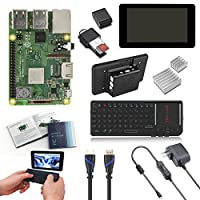 "V-Kits Raspberry Pi 3 Model B+ (Plus) Complete Starter Kit with 7"" LCD Touchscreen Monitor & Mini Keyboard with Touchpad Combo [Latest Model 2018]"