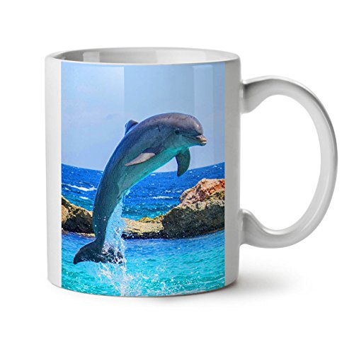 Funny Jumping Dolphin Smart Fish White Tea Coffee Ceramic Mug 11 oz | Wellcoda