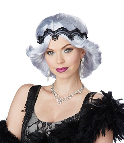 Glitz And Glamour Costumes (California Costumes Women's Gray 20s Glitz and Glamour Wig and Headband, Lavender/Gray, One Size)