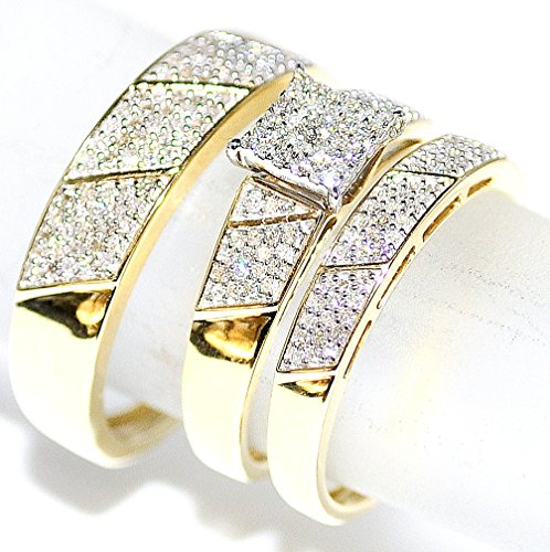 amazoncom his her wedding rings set trio men women 10k yellow gold jewelry - Wedding Ring Trio Sets