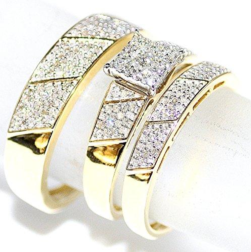 Amazoncom His Her Wedding Rings Set Trio Men Women 10k Yellow