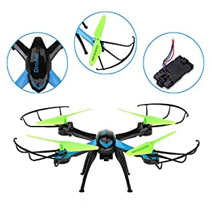 JJRC H98 RC Quadcopter Drone with Camera 2.4GHz 4CH 6-Axis Gyro Radio Control Helicopter Quad, Headless Mode, 3D Rollover, 1 Set of Free Floureon Props from JJRC
