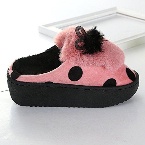 Inverno Accogliente Donna Pelliccia Memory Foam Arco Casa Pantofole Antiscivolo Fodera In Velluto Slip Slip On Home Slipper Rosso