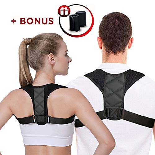 Posture Corrector for Women Men Under Clothes, Back Posture Corrector with Underarm Pads, Comfortable Upper Back Brace for Women Men Kids, Neck and Shoulder Pain Relief - M