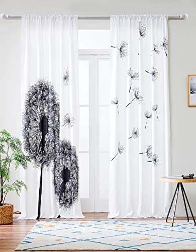 Grace Duet Linen Type Fabric Window Curtains 2 Panels Black White Pattern Curtains Black White, 52 x 84
