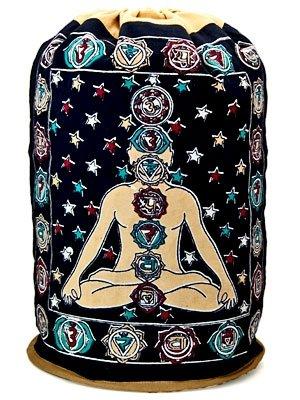 Seven Chakra Yoga Kundalini Indian Drawstring Hippie Book Bag Cotton Backpack