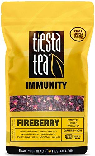 Tiesta Tea Immunity, Fireberry, Cranberry Hibiscus Rooibos Tea, Loose Leaf Tea Blend, Caffeine Free, 1 Pound Bulk Bag
