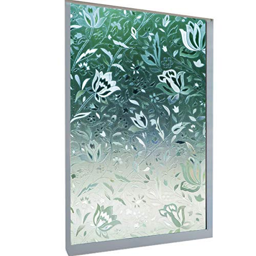 DekorFix Tulip Window Film Kitchen Glass Film Non-Adhesive Vinyl Window Sticker Reusable Waterproof Anti-UV Privacy Window Films for Home and Office 17.7