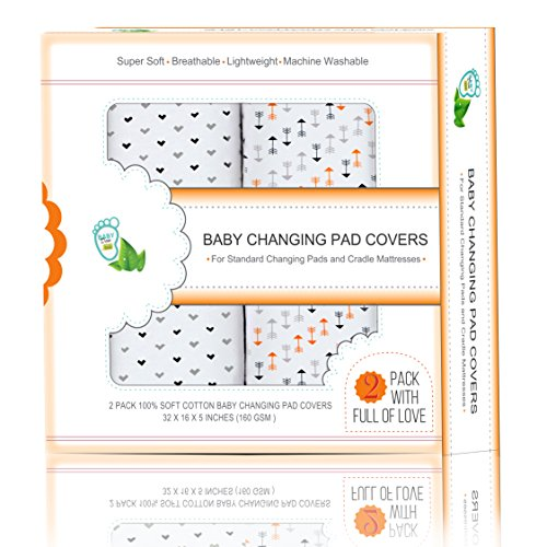 Baby Diaper Changing Pad Covers 2 Pack 32x16x5'' For Cradle Mattresses & Standard Pads | Lovely Patterns & Unisex Colors | Breathable Cotton Fabric Protect your Baby's Skin | Minimize Wetness & Stains from BabyDew