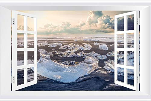 SHOBRILF Ice Blocks on Sandy Beach - Beach - #34681 - Art Print 3D Fake Windows Wall Stickers Removable Poster Wall Decor for Livingroom Bedroom 24x16 inches ()