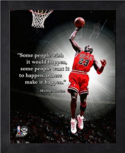 Michael Jordan Chicago Bulls NBA ProQuotes Photo (Size: 17'' x 21'') Framed by NBA