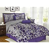 7Pcs King Fresca Purple and Gray Bedding Comforter Set
