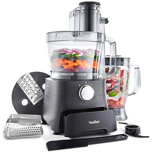 -[ VonShef 1000W Food Processor - Blender, Chopper, Multi Mixer Machine with Dough Blade, Shredder