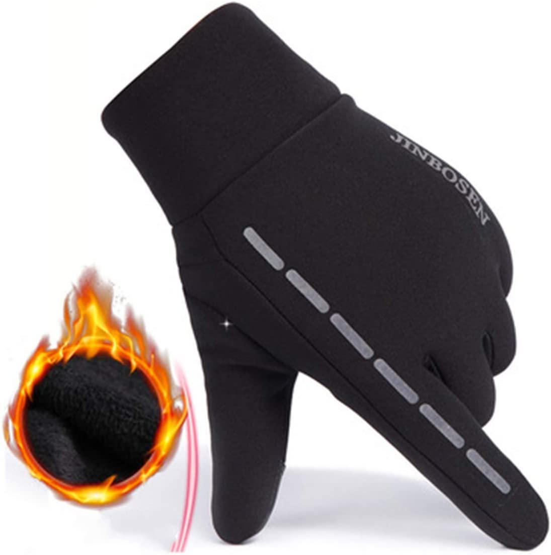 Color : Black HaiQianXin Winter Sport Windproof Fleece Lined Warm Riding Gloves Touch Screen Ski Gloves Motorcycle Men Women Mittens
