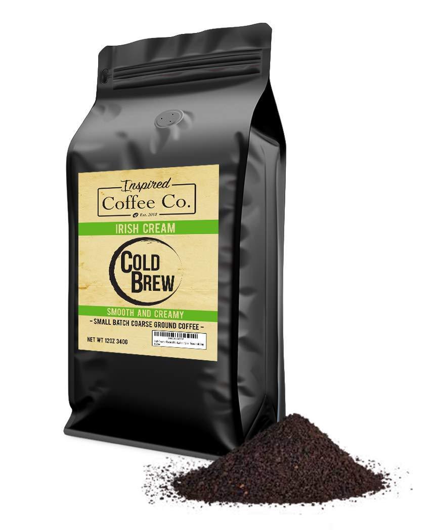 Irish Cream - Flavored Cold Brew Coffee - Inspired Coffee Co. - Coarse Ground Coffee - 12 oz. Resealable Bag