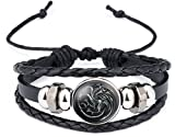 New Horizons Production Game of Thrones 3 Headed Dragon Glass Domed Logo Braided Leather Bracelet