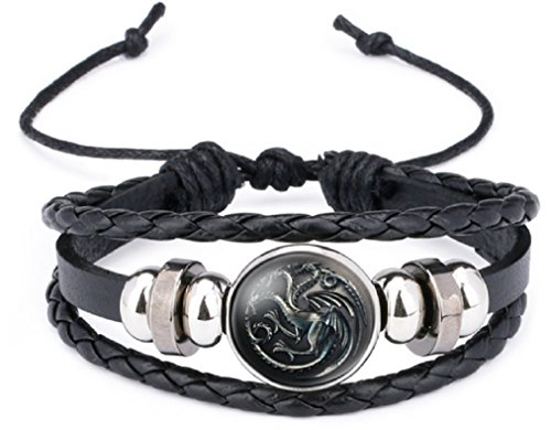 Game of Thrones 3 Headed Dragon Glass Domed Logo Braided Leather (Dragon Glass Bracelet)
