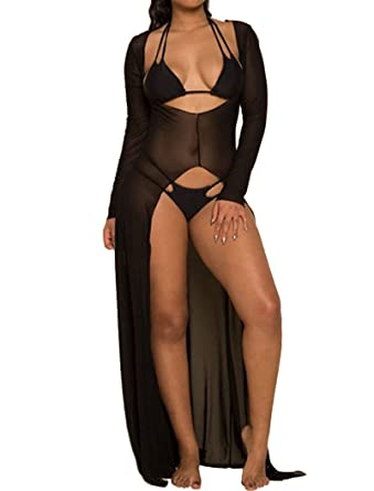 a85c393d45 DITTMURI Women Sexy Deep V Neck Sheer Mesh See Through Long Dress Bikini  Swimsuit Cover Up