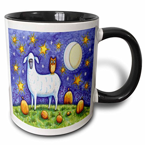 (3dRose 159518_4 Whimsical Sheep And Owl Halloween Scene Mug, 11 oz, Black)