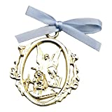 Cathedral Art CM1B Angel Protecting Children with Blue Ribbon Baby Crib Medal, 3-Inch