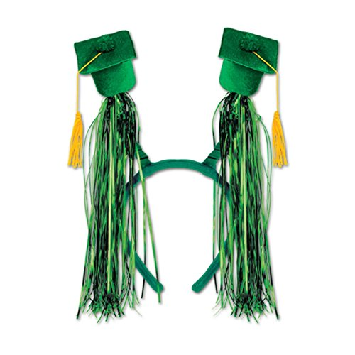 Club Pack of 12 Green Graduation Cap with Fringe Bopper Headband Party Favors by Party Central