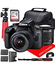 Canon EOS 3000D (Rebel T100) DSLR Camera w/Canon EF-S 18-55mm F/3.5-5.6 III Zoom Lens + Case + 64GB SD Card + Spare Battery (14pc Bundle)