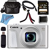 Canon PowerShot SX730 HS Digital Camera (Silver) #1792C001 + Sony 32GB SDHC Card + Micro HDMI Cable + Small Soft Carrying Case + Memory Card Wallet + Card Reader + Flexible Tripod Bundle
