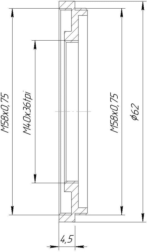 58mm to 40mm Step-Down Ring M58x0.75 Male to M40x36tpi Female Thread Adapter