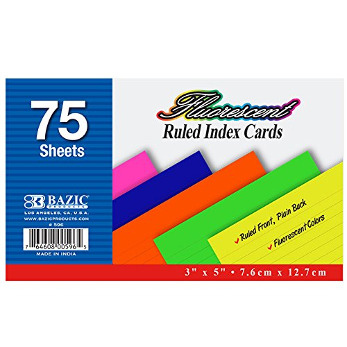 "3 Pk. 3"" x 5"" Bazic Ruled Fluorescent Colored Index Card"