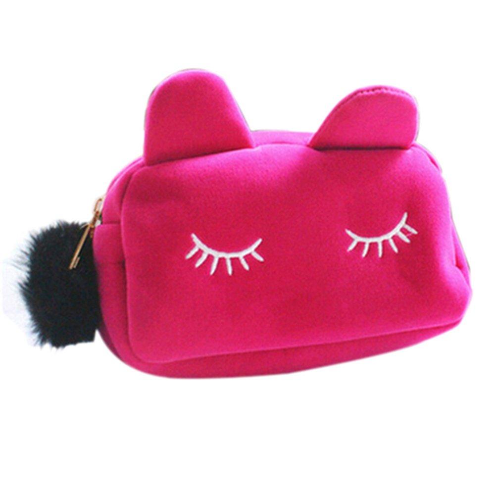 Cute Cartoon Cat Cosmetic Makeup Storage Bag Pen Pencil Pouch Case (Pink)