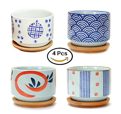 Flowerpot+Wooden Pot Tray Japanese Style Wave Pattern Ceramic Garden Pots Succulent Planter Blue White Flower Po (4-PCS)