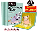 Y-Meet Mouse Glue Traps,5-Pack Extra Large Sticky Mouse Glue Traps,Scent Free Non-Poisonous Super Sticky Traps for Mice and Household Pests,Perfect Use for Indoor and Outdoor(Green)