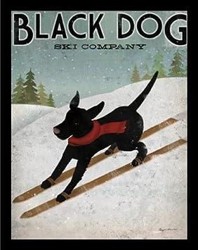 buyartforless IF WA5017 28×22 2 Black Plexi Framed Black Labrador Dog Ski Company by Ryan Fowler 28X22 Art Poster Print Ryan Vintage Dog Advertisement Sign