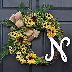 Personalized Yellow Sunflower and Boxwood Spring Summer Monogram Wreath for Front Door Decor; Year Round Faux Greenery Porch Decoration with Ferns and Burlap Bow; Initial Letter Choice 11