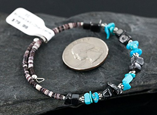 ($80Tag Certified Navajo Turquoise Hematite Native American WRAP Bracelet 12717 Made by Loma Siiva)