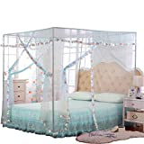 JQWUPUP Mosquito Net for Bed - 4 Corner Canopy for Beds, Canopy Bed Curtains, Bed Canopy for Girls Kids Toddlers Crib, Bedroom Decor (Twin Size, Light Blue)