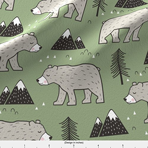Satin Bear Green - Spoonflower Bear Fabric Mountain Bear Woodland Forest Green by Caja Design Printed on Satin Fabric by the Yard