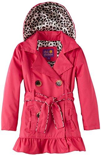 Pink Platinum Little Girls' Toddler Leopard Lining Trench Raincoat Jacket, Fuchsia, (Fleece Leopard Coat)