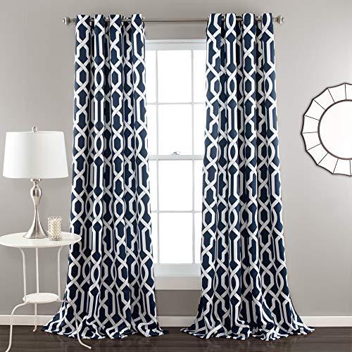 Lush Decor Edward Trellis Darkening Window Curtains Panel Set for Living, Dining Room, Bedroom (Pair), 84