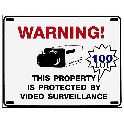 Wholesale Home Surveillance Camera Warning Signs - 100 Bulk LOT